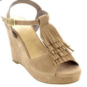 f28603c69512 Stone fringe Iveth suede wedge sandal by Betani